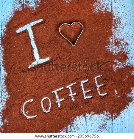 coffee ground with i love coffee text and heart shape