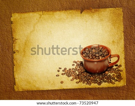 Coffee grunge background with coffee beans and brown ceramic cup. Cup of coffee on retro style, vintage poster - spotted textured blank.