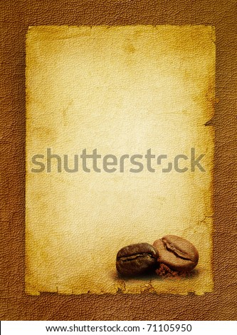 Coffee grunge background with coffee beans.Vintage coffee-shop menu - spotted textured blank.