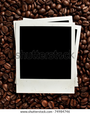 Coffee grunge background with old photo frame