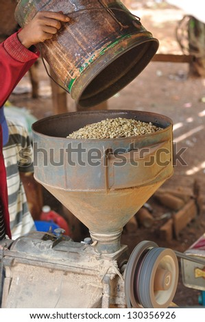 coffee hulling machine - stock photo