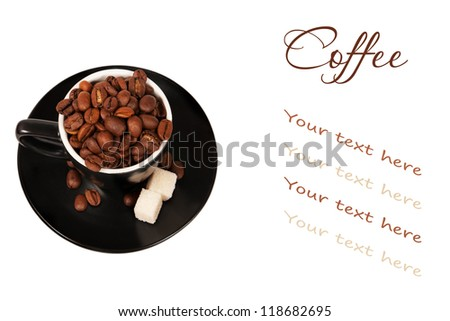 coffee in a black cup on white background with the place for your text