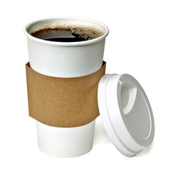 Coffee in blank craft take away medium cup isolated on white background packaging template mockup collection with clipping path