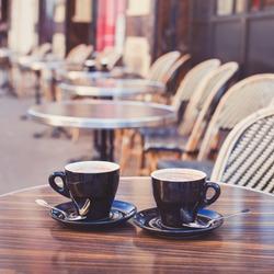 coffee in cozy street cafe in Europe