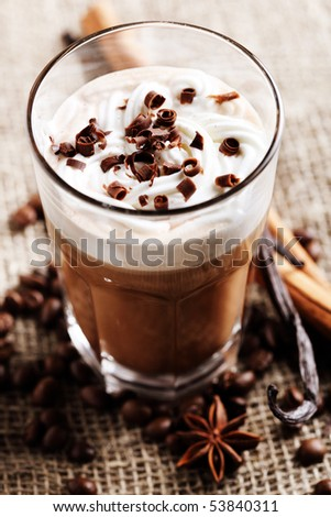 coffee in cream and chocolate