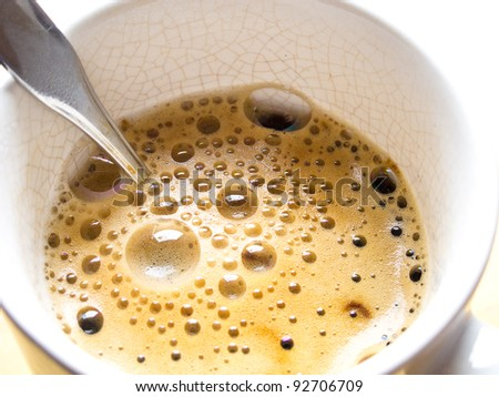 Coffee in cup with spoon
