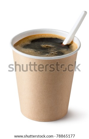 Coffee in disposable cup with plastic spoon. Isolated on white.