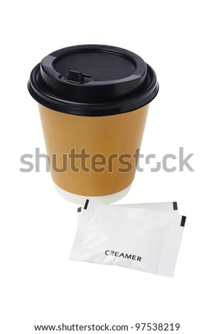 Coffee in Paper Cup and sachets of creamer on White Background