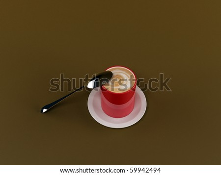 coffee in red cup isolated on brown background