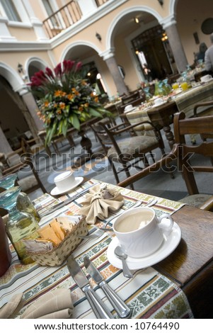 coffee in restaurant famous historic hotel with beautiful architecture quito ecuador