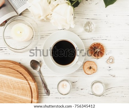 Coffee in the white cup. Morning lifestyle. Girl's breakfast. #756345412