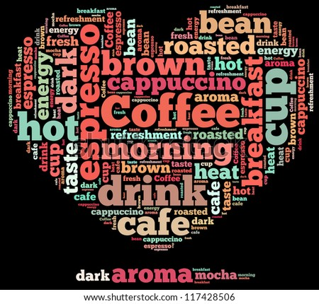 Coffee info-text graphics and arrangement concept on black background (word cloud) - stock photo