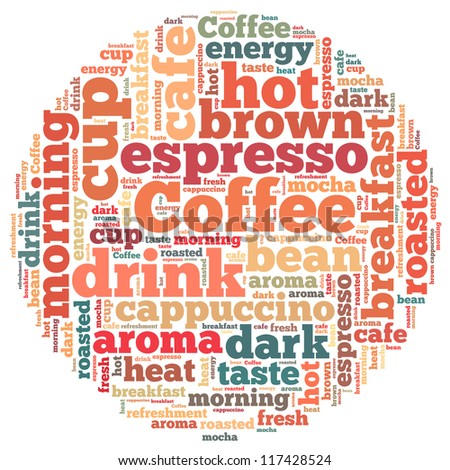 Coffee info-text graphics and arrangement concept on white background (word cloud)