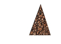 Coffee isolated on white background, triangle sample of coffee beans, area for copy space
