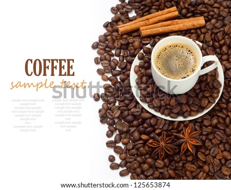 Coffee Isolated on whites background with sample text