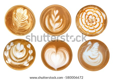 Coffee latte art cappuccino foam set isolated on white background