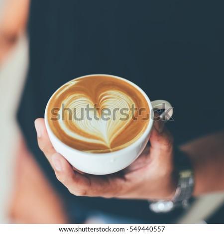 coffee latte art  espresso in coffee shop vintage color tone
