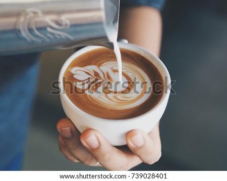 coffee latte art in coffee shop.