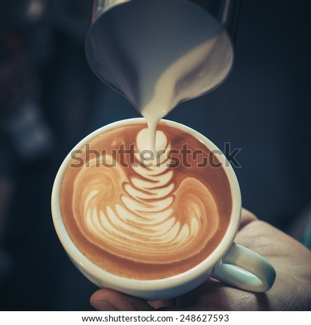 coffee latte art in vintage color tone