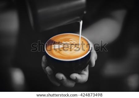 coffee latte art make by barista