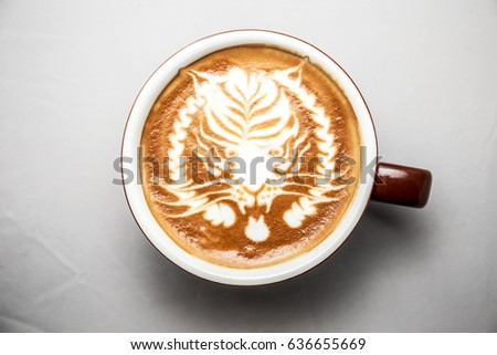 coffee latte art on top white background isolated, tiger