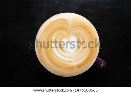coffee latte, latte art heart, top view #1476100565