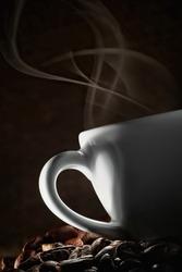 Coffee love. Warm cup of coffee
