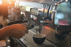coffee machine,Coffee machine in steam, barista preparing coffee at cafe