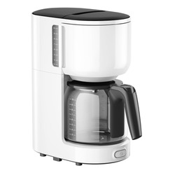Coffee Maker Isolated on White. Side View White Coffee Brewer or Automatic Espresso Coffee Machine with Open Carafe Handle. Household Domestic & Electric Small Kitchen Appliances
