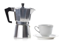 coffee maker with ceramic cup on white background