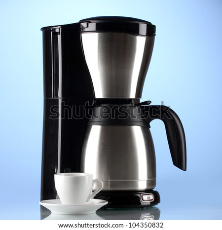 Coffee Maker With White Cup On Blue Background Stock Photo 104350832 : Shutterstock