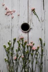 Coffee Marshmallows Flowers Spring Stilllife
