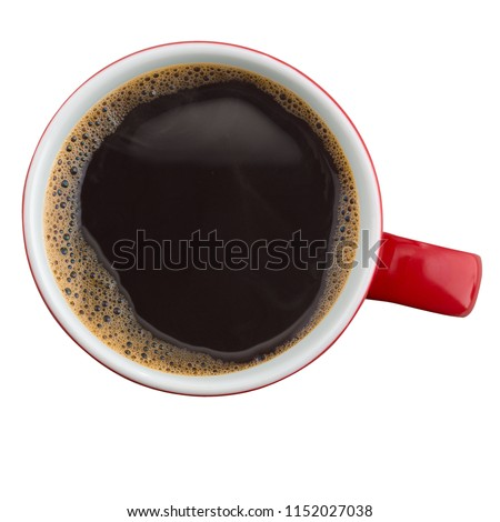 Coffee mug from above isolated
