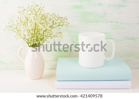 Coffee mug mockup light green. White mug mockup. Mug Product Mockup. Styled mockup. Product mockup. White cup mockup. Cup mockup. Blank mug. Empty Mug Mockup