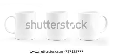 Coffee mug white. Mug empty mock-up #737122777