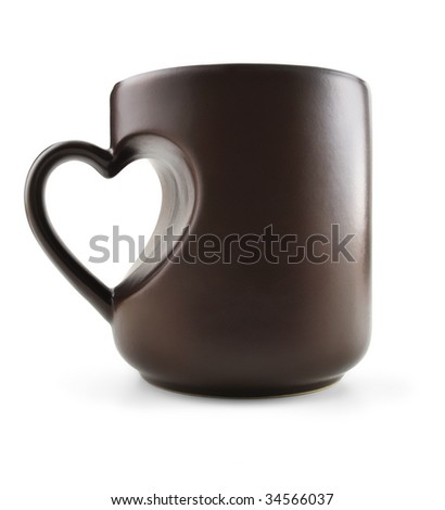 Coffee mug with heart shape handle, isolated on white. Clipping path included.