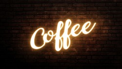 Coffee neon sign emblem in neon style on brick wall background
