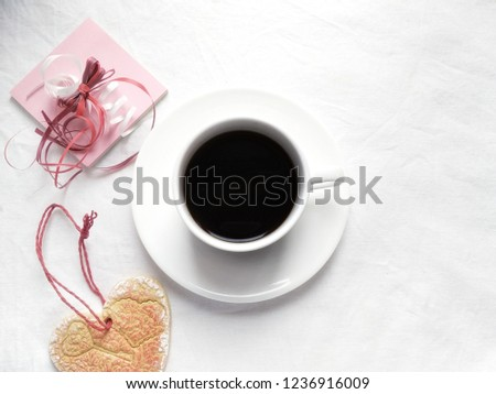 Coffee on a white background. Flat lay, top view #1236916009