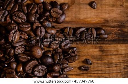 Coffee on grunge wooden background #459049960