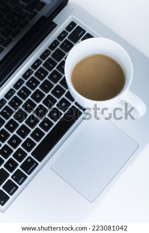 Coffee on Laptop / Coffee Break at Office /  Office Environment