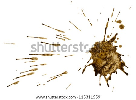 Coffee Or Mud Splash Isolated On White Background. Clipping Path.