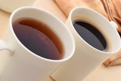 Coffee or tea in the morning Concept image to choice