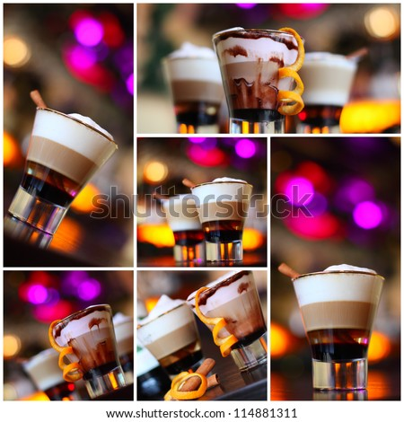 Coffee - party cocktails, Christmas background (shallow depth of field)