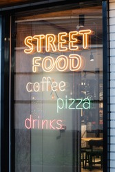 coffee pizza drinks neon sign window case .concept public catering