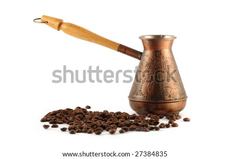 Coffee pot and cofee beans