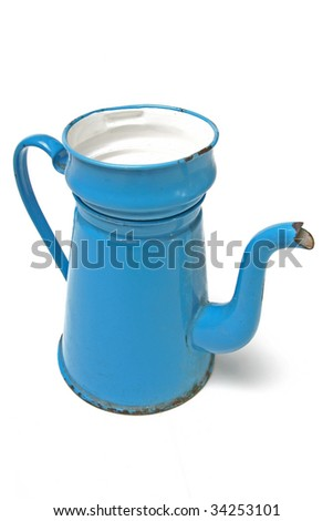 coffee pot in enamel. traditional danish vintage coffee maker known as madam blue isolated on white