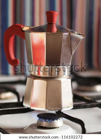 Coffee pot on a gas stove