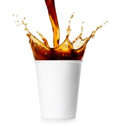 coffee pouring into disposable paper cup and creating splashes isolated on white background