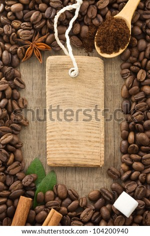 coffee powder and beans as background texture