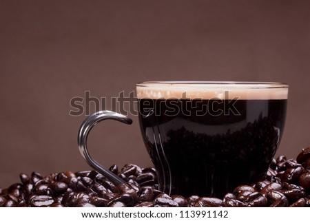 Coffee prepared in the style of espresso.